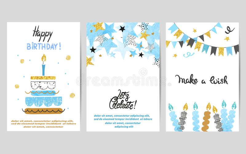 Happy Birthday cards set in blue and golden colors. Celebration vector templates with birthday cake and stars stock illustration