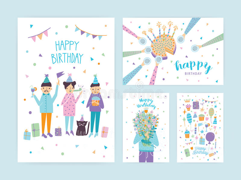 Happy birthday cards set. Collection of cartoon postcards. royalty free illustration