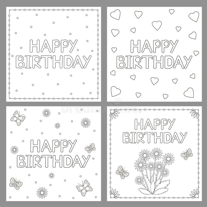Hearts Flowers And Butterflies Happy Birthday Card Stock ...