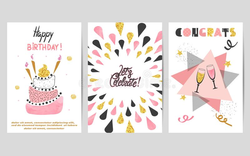 Happy Birthday cards set in pink, black and golden colors. stock illustration
