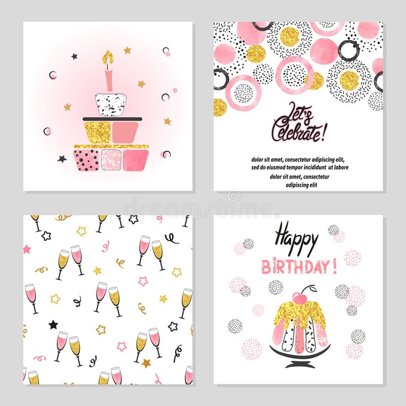 Happy Birthday cards set in pink and golden colors royalty free illustration