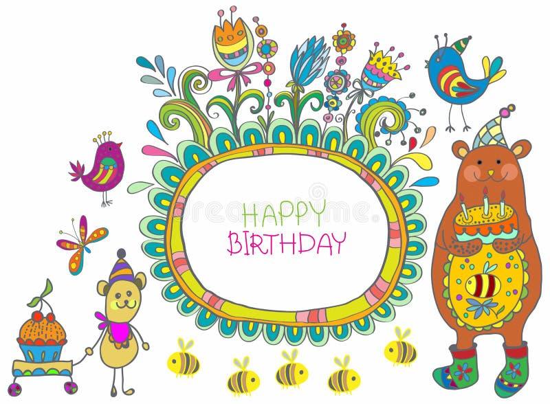 Download Happy Birthday Cartoon Card Stock Vector - Image: 28465558
