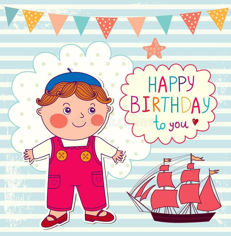 Happy Birthday cartoon card stock illustration