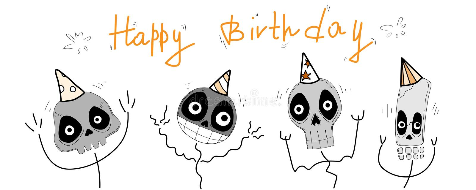 Happy Birthday. Cartoon vector greeting card with funny cute skulls, lettering and decorative elements. Hand drawing vector illustration