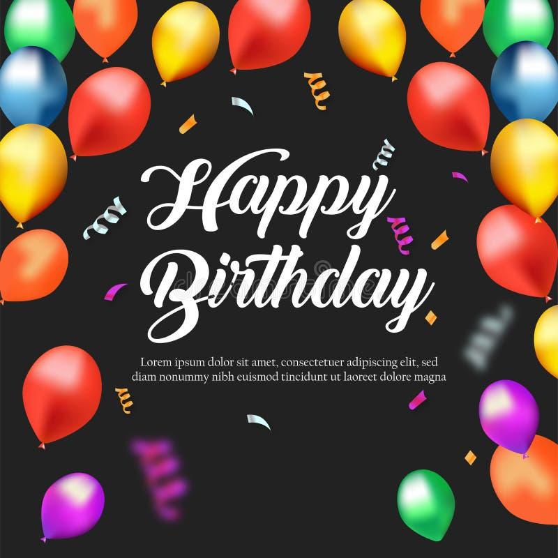 Happy Birthday Celebration Background Template stock illustration