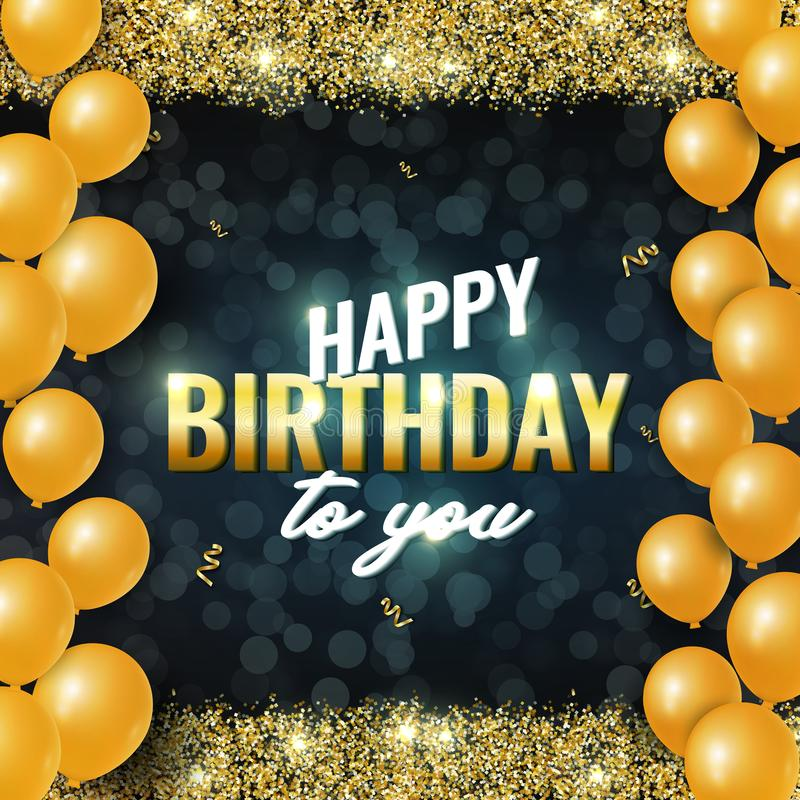 Happy Birthday celebration card with glowing golden sparkles and balloons and golden ribbons on Dark Background. stock illustration