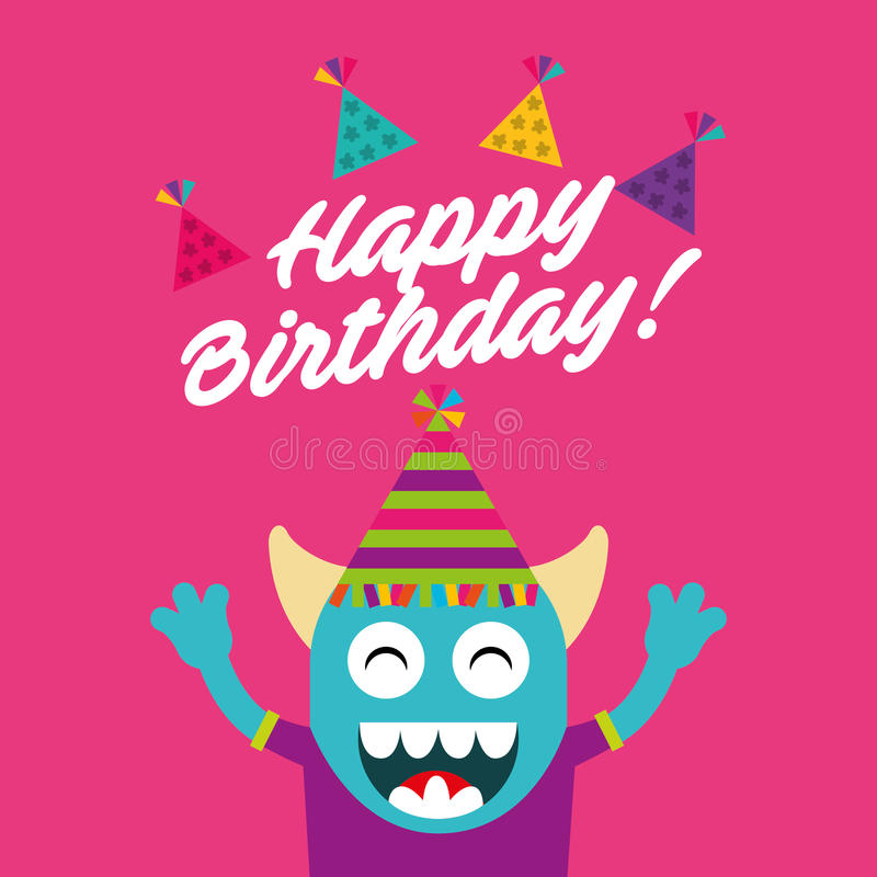 Happy birthday celebration card with monster royalty free illustration
