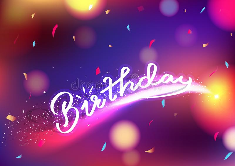 Happy Birthday, celebration party with blurry colorful abstract background decoration paper confetti falling, stars fantasy,. Comets shimmer blinking vector stock illustration