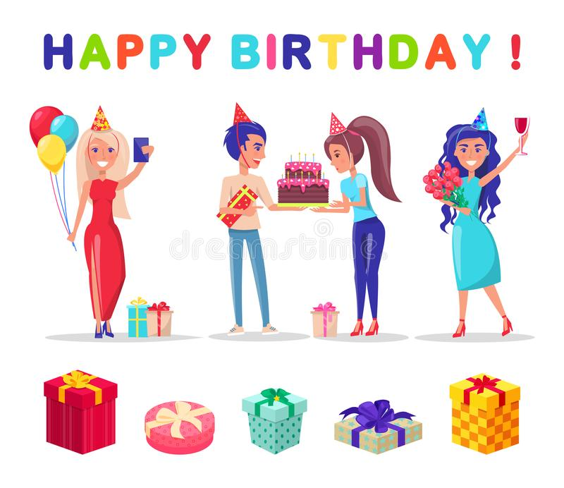 Happy Birthday Celebration Party, Present Gifts. Happy birthday celebration party vector, present gifts with bows and wrappings. People wearing caps made of vector illustration