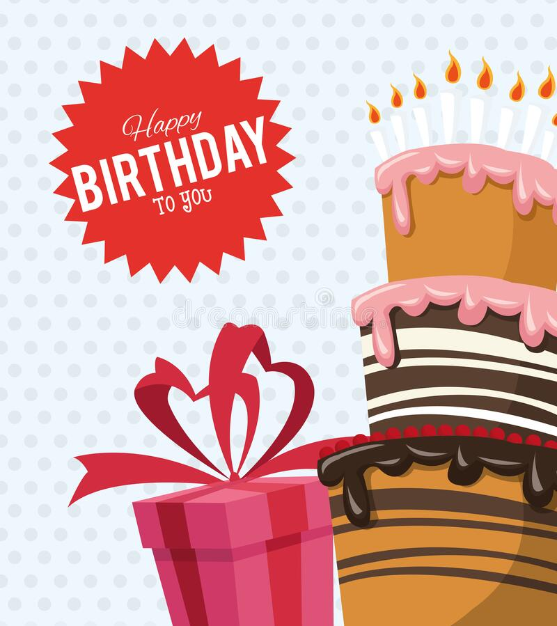 Happy birthday celebration party sweet cake with candles and red gift royalty free illustration