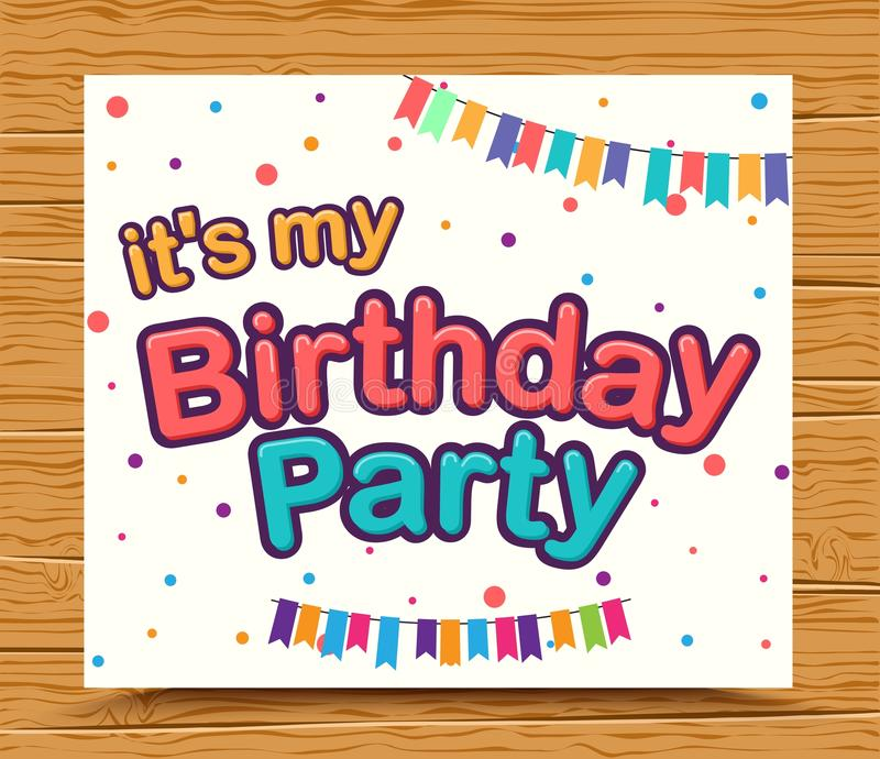 Happy birthday celebration type font design stock illustration