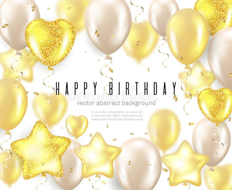Happy Birthday celebration typography design for greeting card, poster or banner with realistic golden balloons and. Falling confetti on white background royalty free illustration