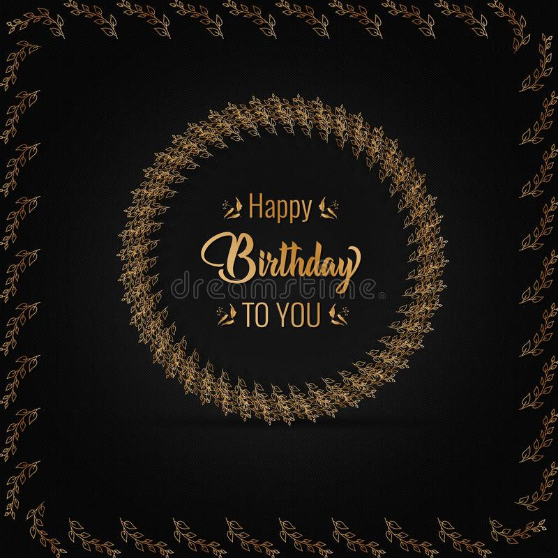 Happy Birthday celebration vintage luxury design with golden wreath for greeting card, poster or banner. Vector illustration vector illustration