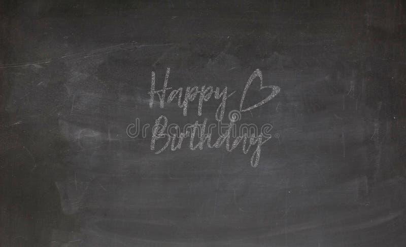 Happy Birthday chalkboard black white illustration. For your designs works royalty free illustration