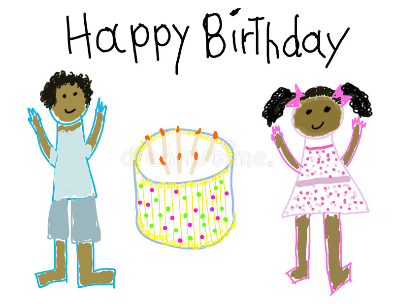 Child Like Drawing Of Boy Girl With Happy Birthday Message