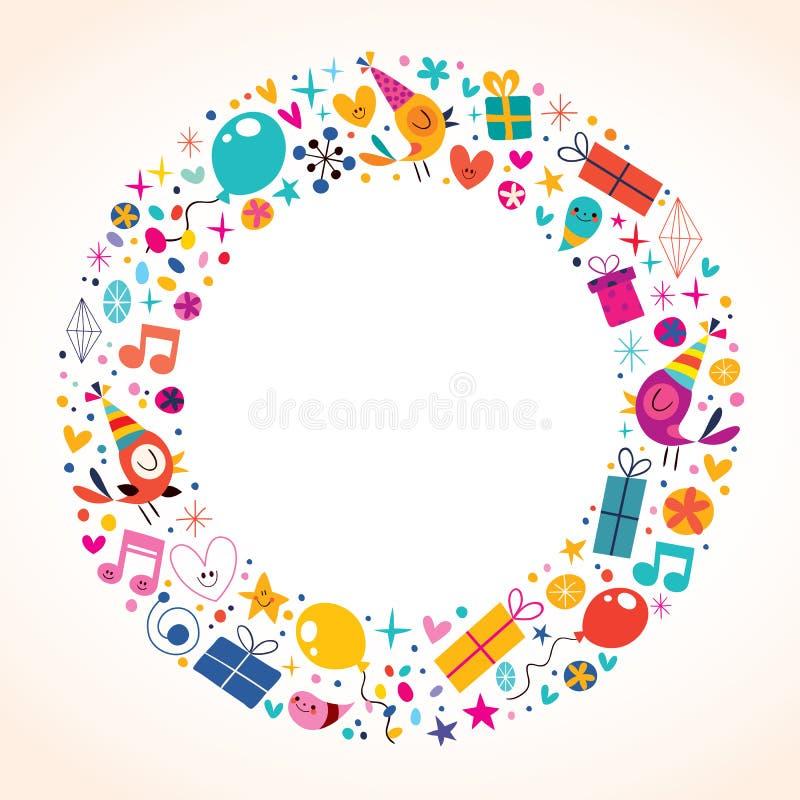 Happy Birthday circle frame border background vector illustration