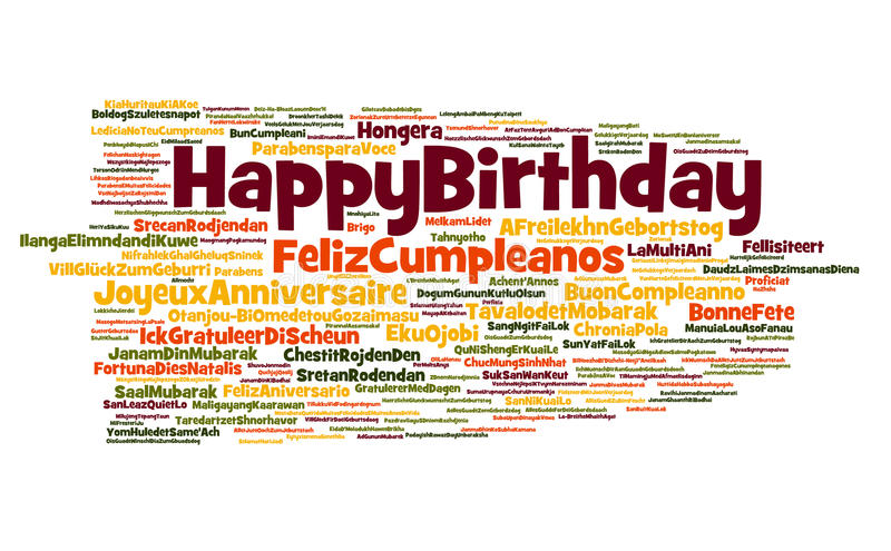 Happy Birthday Cloud. A cloud of words of the happy birthday greeting in different languages, with English, Spanish, French and other more widely spoken