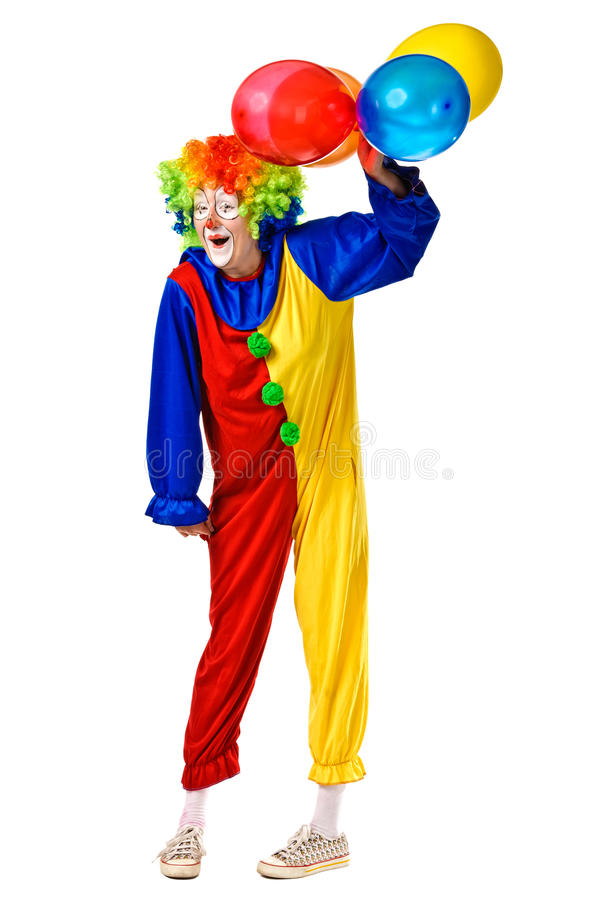 Happy birthday clown with balloons. Full body isolated royalty free stock images