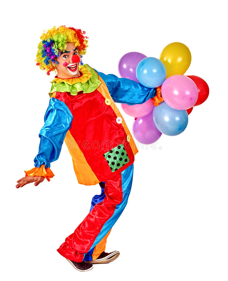 Happy birthday clown playing bunch of balloons. Isolated royalty free stock photos