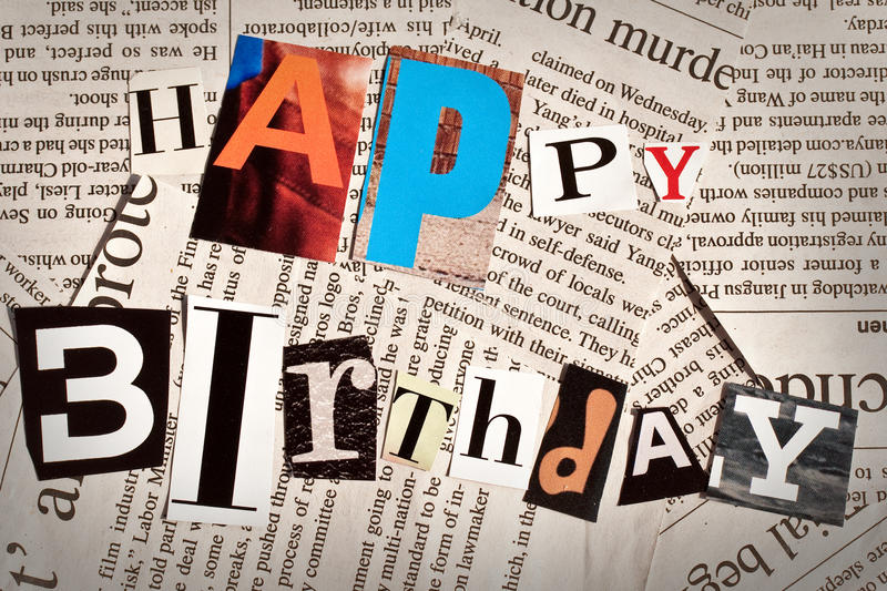 Happy Birthday Fonts ~ Happy birthday collage with newspaper and magazine letters stock