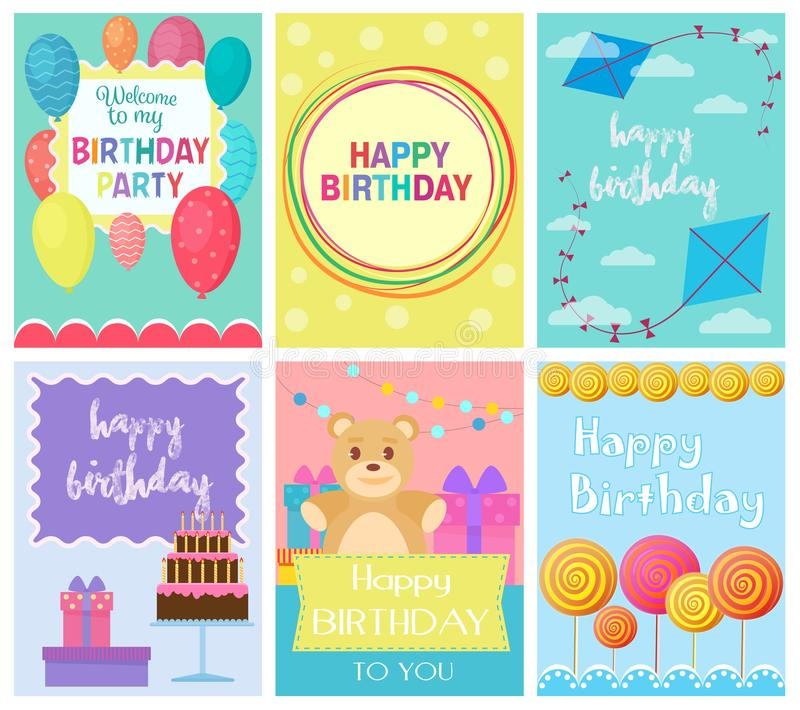 Happy Birthday Collection set of invitation cards greeting templates, to the party. Vector banners with confetti, teddy royalty free illustration