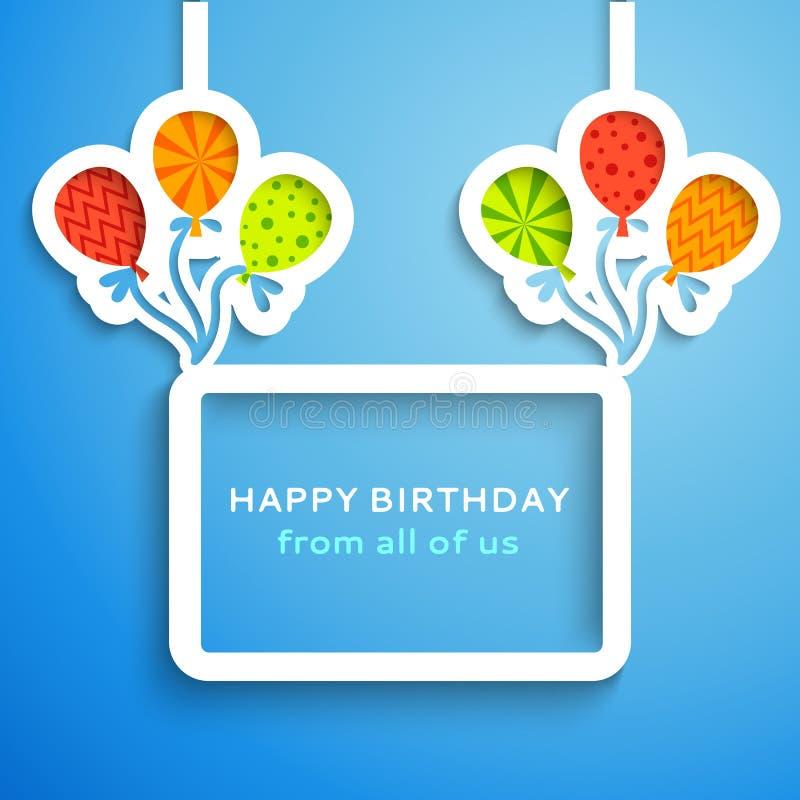 Happy birthday colorful applique background stock illustration