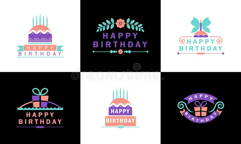 Happy birthday colorful badges vector illustration