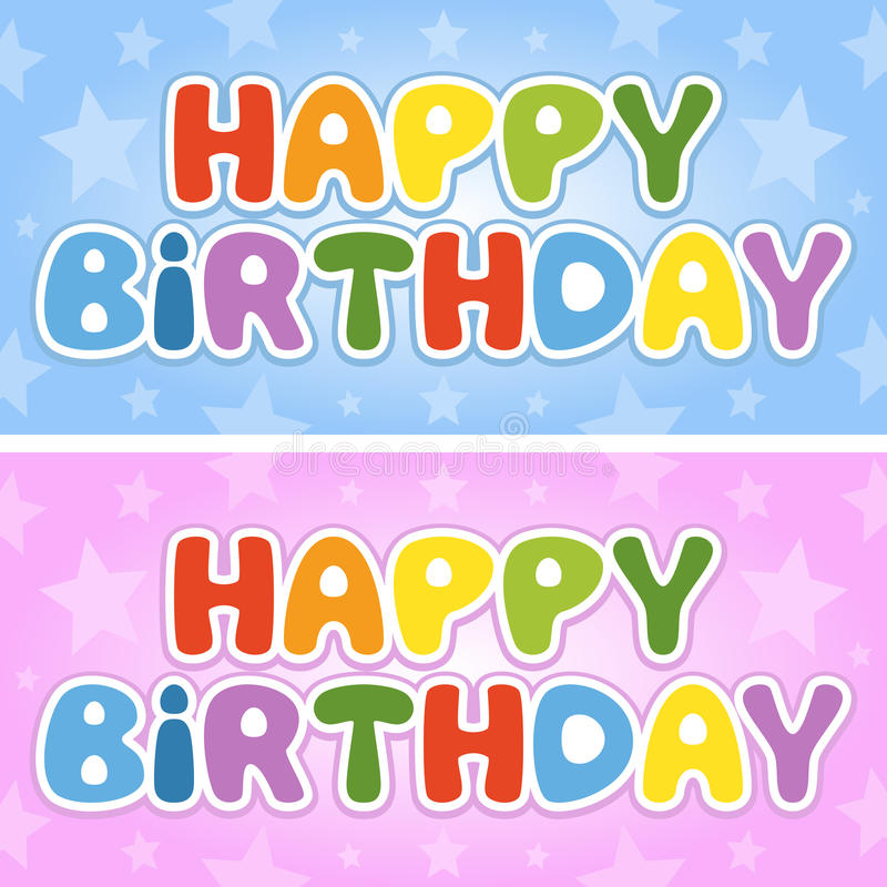 Happy Birthday Colorful Banners stock illustration