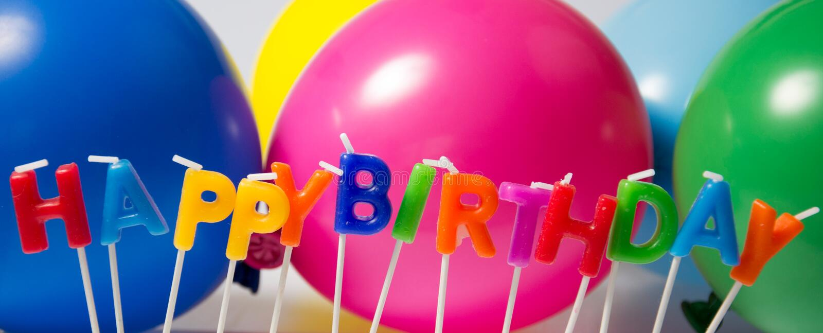 Happy Birthday. Colorful birtday decoration with candles royalty free stock photos