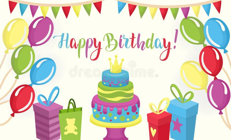 Happy Birthday colorful card with set of party elements vector illustration