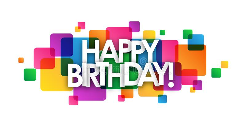 HAPPY BIRTHDAY! colorful overlapping squares banner stock illustration