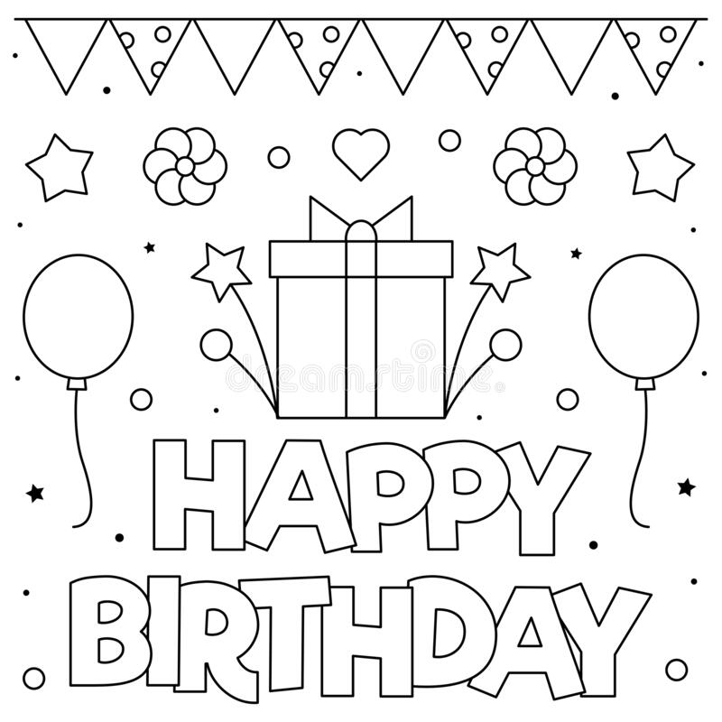 Birthday Coloring Page Stock Illustrations – 2,963 Birthday Coloring Page  Stock Illustrations, Vectors & Clipart - Dreamstime