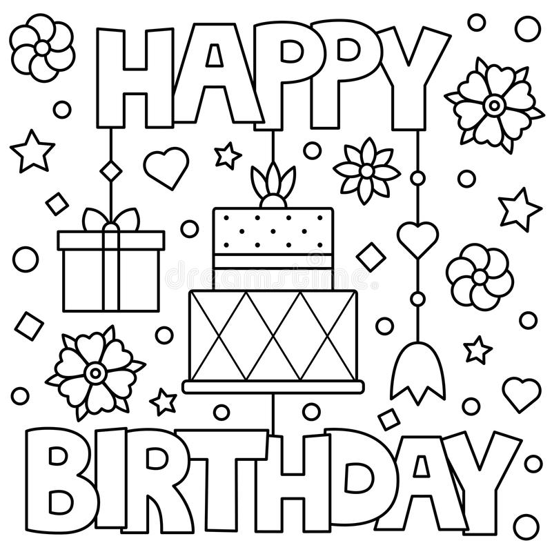 Download Happy Birthday Coloring Page Vector Illustration Stock