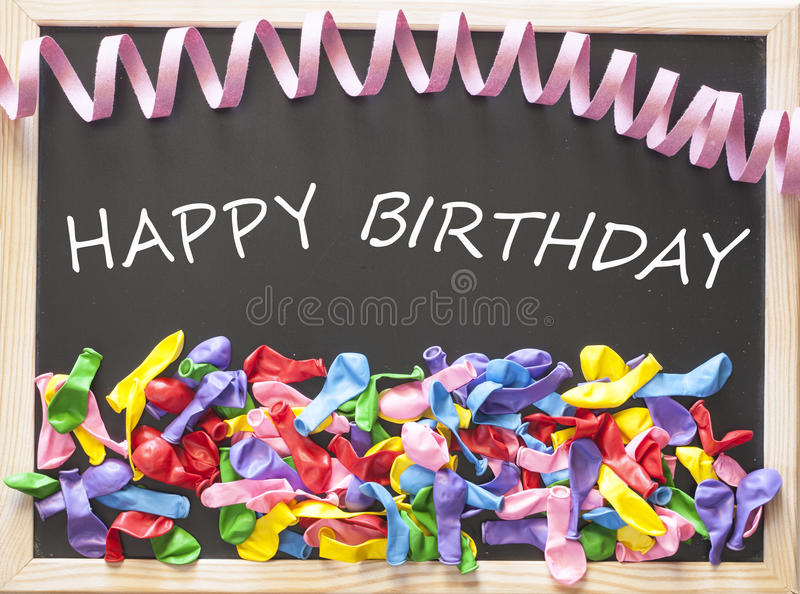 Happy birthday concept. Happy birthday card with colorful ballons royalty free stock photo