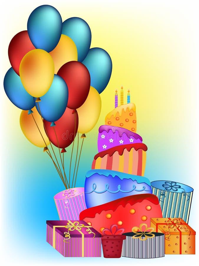 Happy birthday concept. Colorful happy birthday cake, balloon and present illustration royalty free illustration