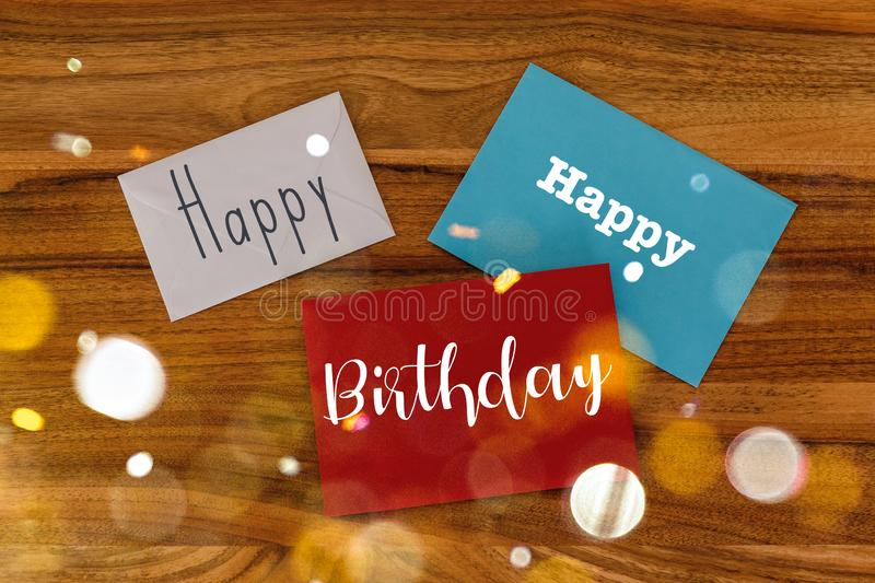 Happy Birthday Concept. Happy Birthday written in a Mix of Handwriting and other Fonts stock photography