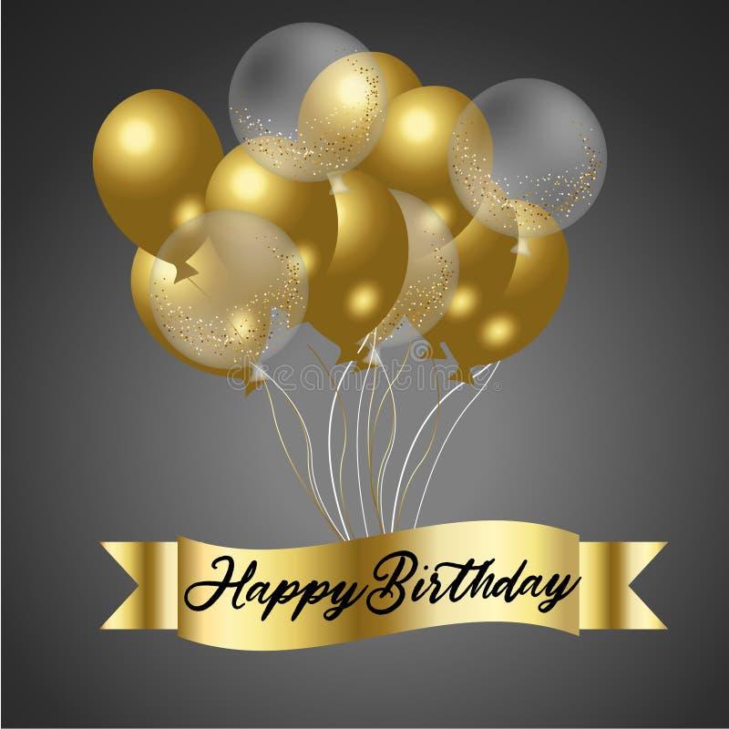 Happy birthday with confetti royalty free illustration