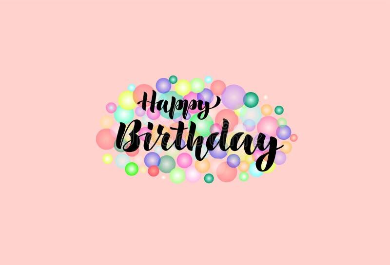 Happy birthday. Congratulation. Lettering. stock illustration