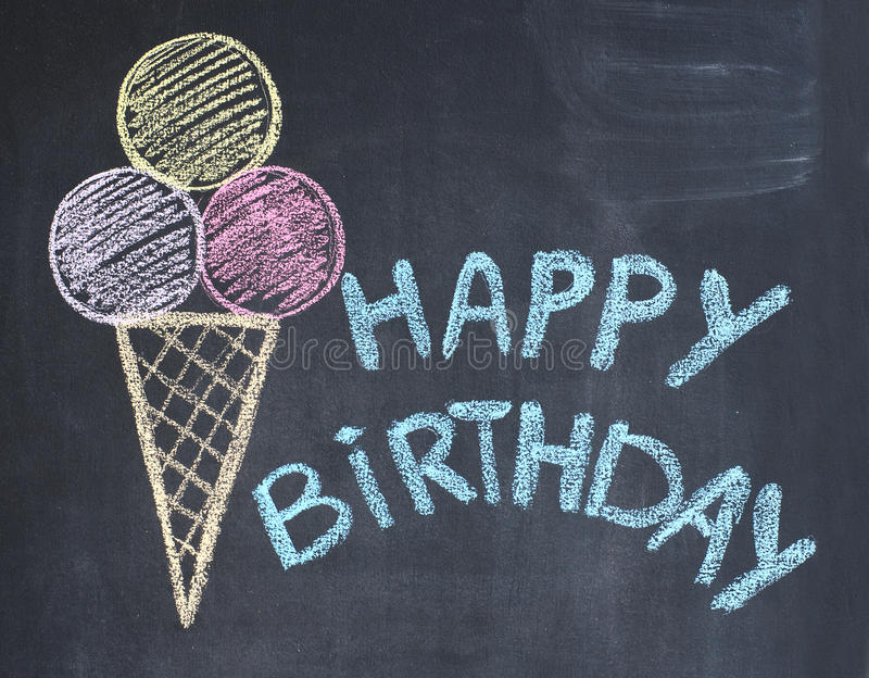Happy birthday congratulations. Happy birthday congratulation written by a chalk on a blackboard royalty free stock photography