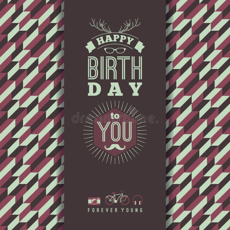 Happy birthday congratulations, vintage retro background with ge stock illustration