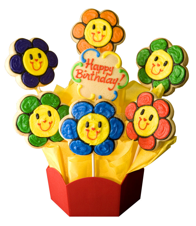 Happy Birthday Cookies. In the shape of flowers in a planter box royalty free stock images