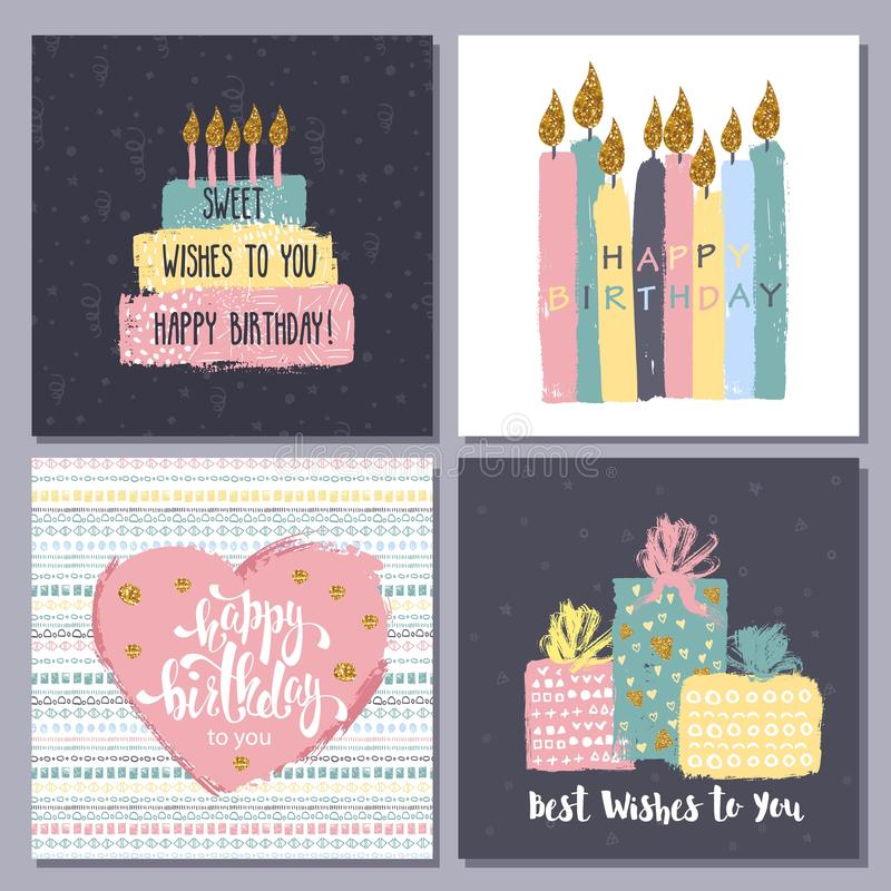 Happy birthday creative hand drawn cards collection. royalty free illustration