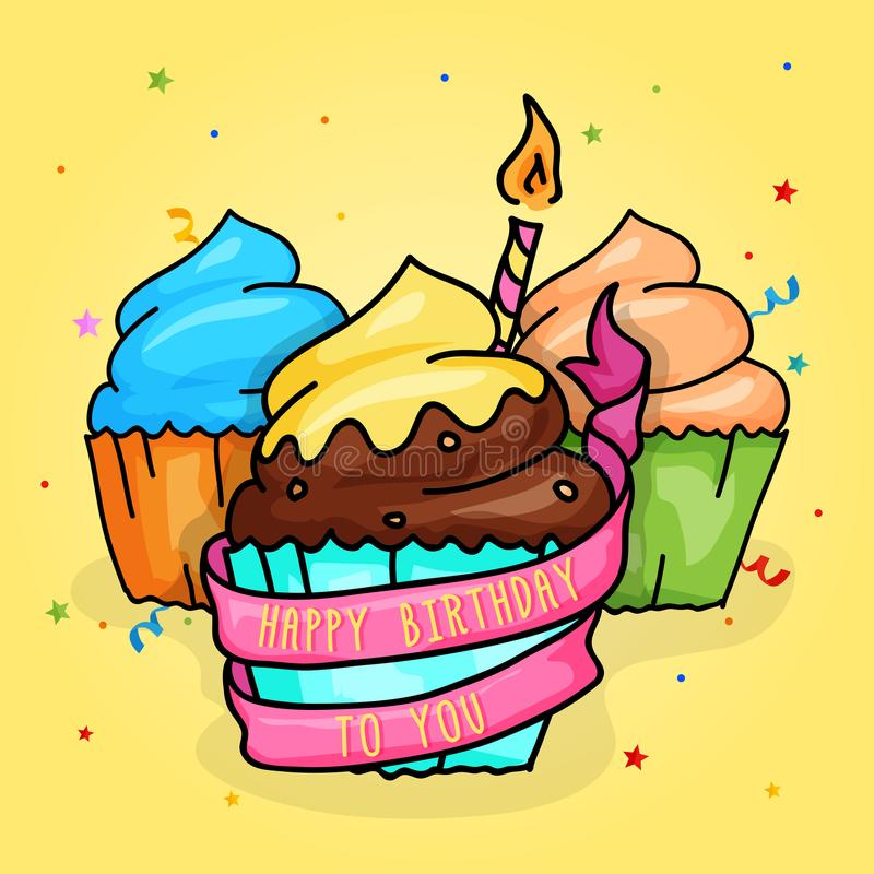Happy Birthday Cup Cake with candle and Ribbon. Hand Drawn Style Illustration. royalty free illustration