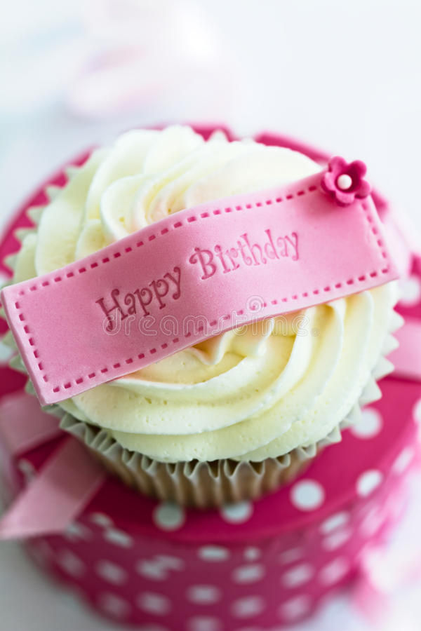 Happy birthday cupcake. Cupcake with a happy birthday message stock images