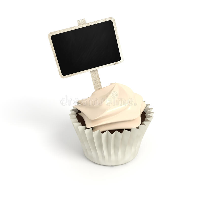 Happy Birthday cupcake with chalkboard signboard label on white stock photo