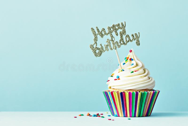 Happy Birthday cupcake. Cupcake with Happy Birthday sign stock photos