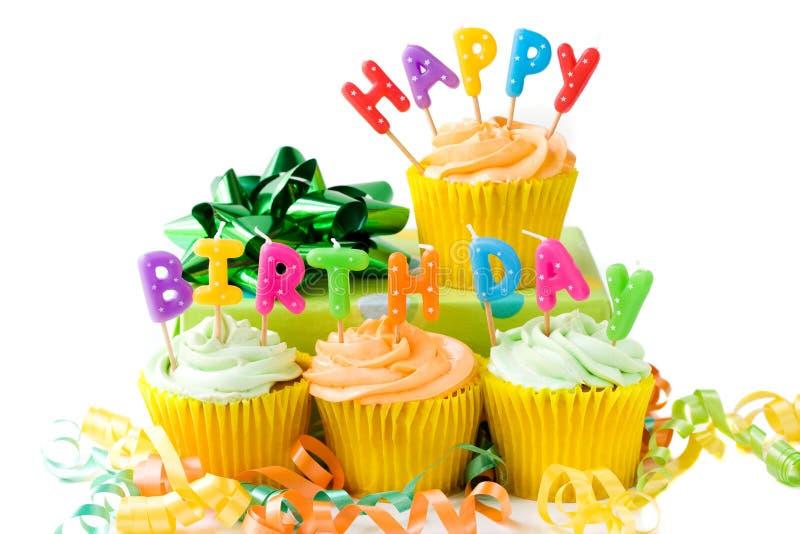 Happy Birthday cupcakes stock image