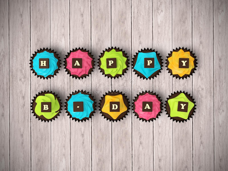 Happy Birthday cupcakes isolated on wood floor background royalty free stock photos