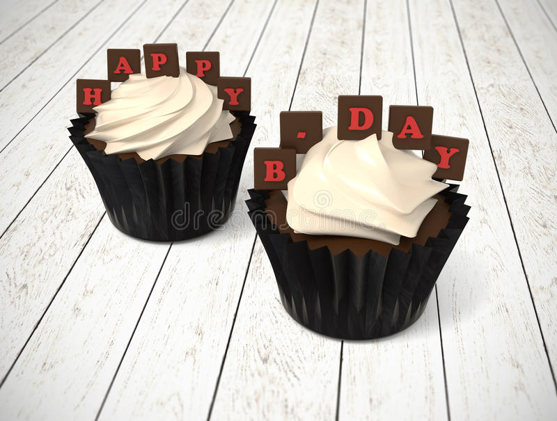 Happy Birthday cupcakes with on white wood with red chocolate le royalty free stock photos