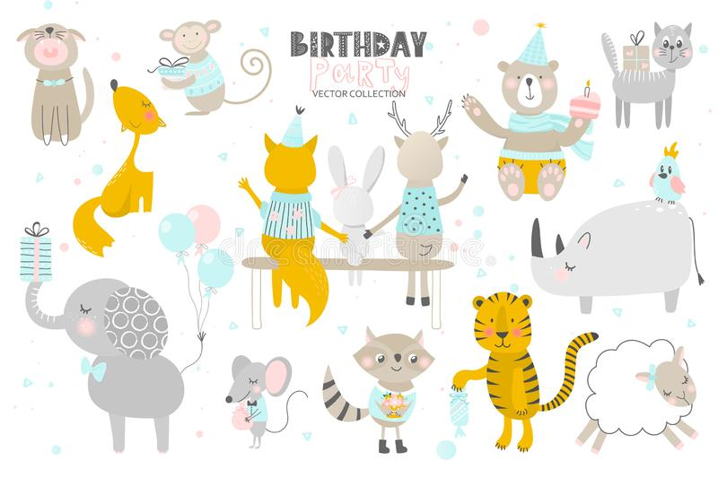Happy Birthday.Cute Animals hand drawn style. Vector collection. royalty free illustration